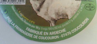 Coucouron brebis bio (fromage bleu au lait de brebis) - Nutrition facts