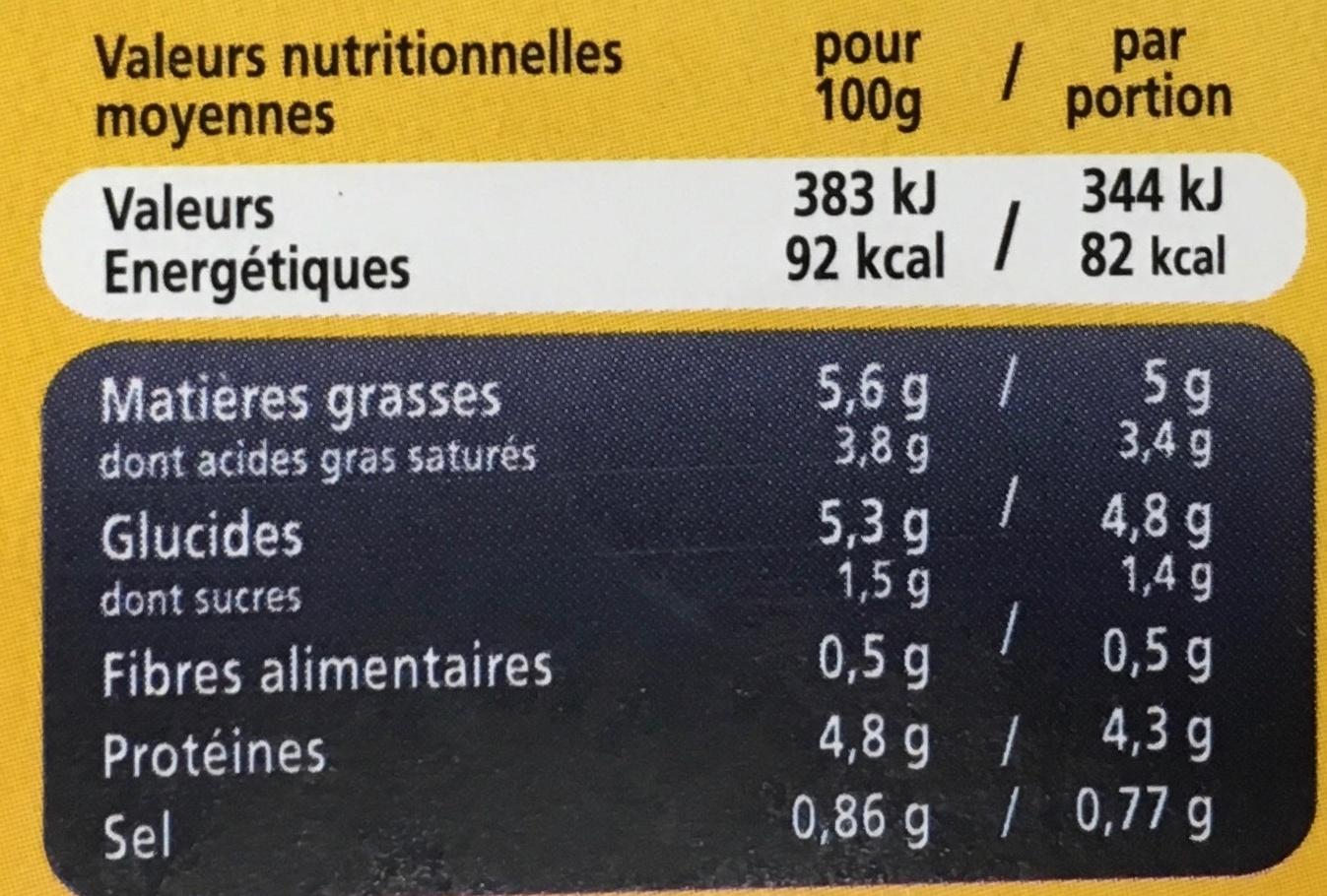 2 Délices de Gambas Bisque de Homard surgelés - Informations nutritionnelles - fr