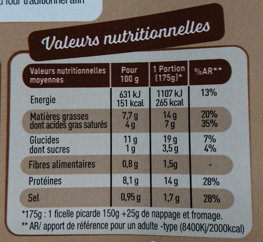2 Ficelles Picardes - Nutrition facts - fr