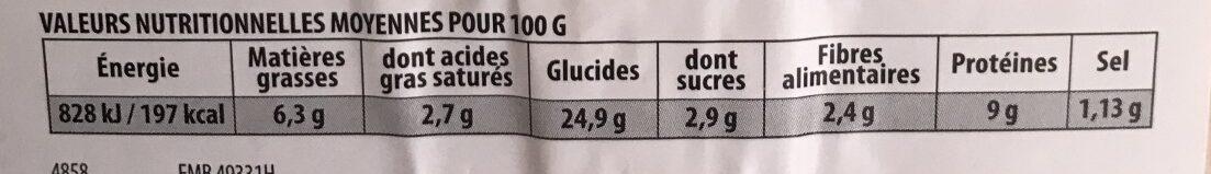 Réghalal Pizza jambon de dinde emmental halal la pizza de 450 g - Informations nutritionnelles - fr
