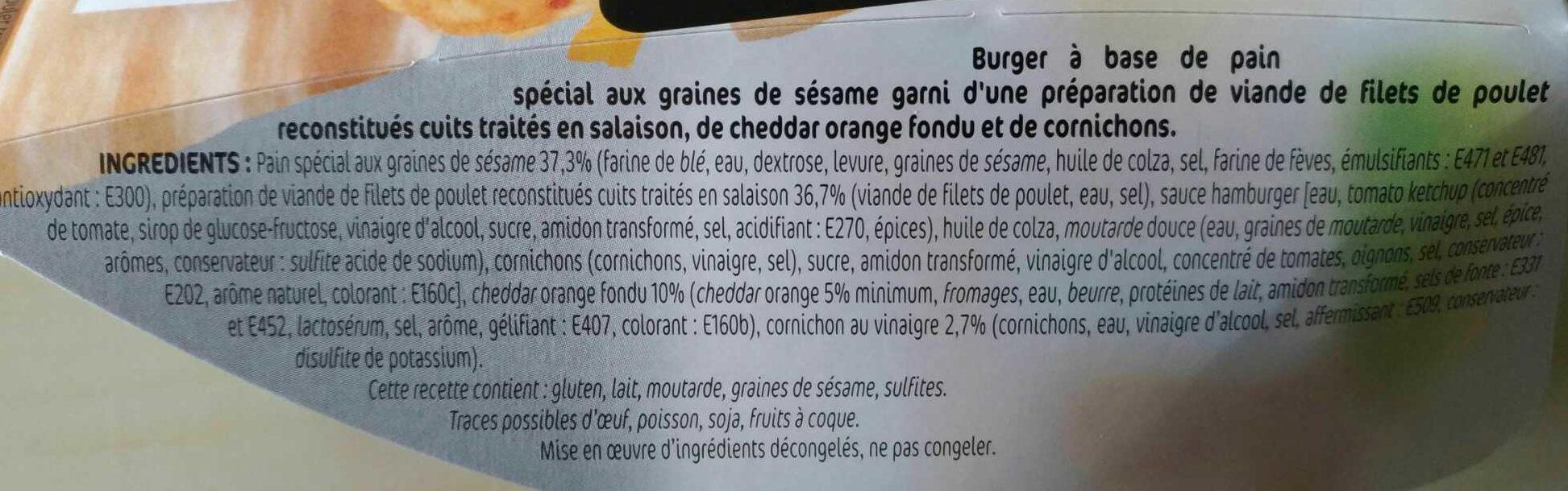 Chicken Burger - Ingrédients - fr