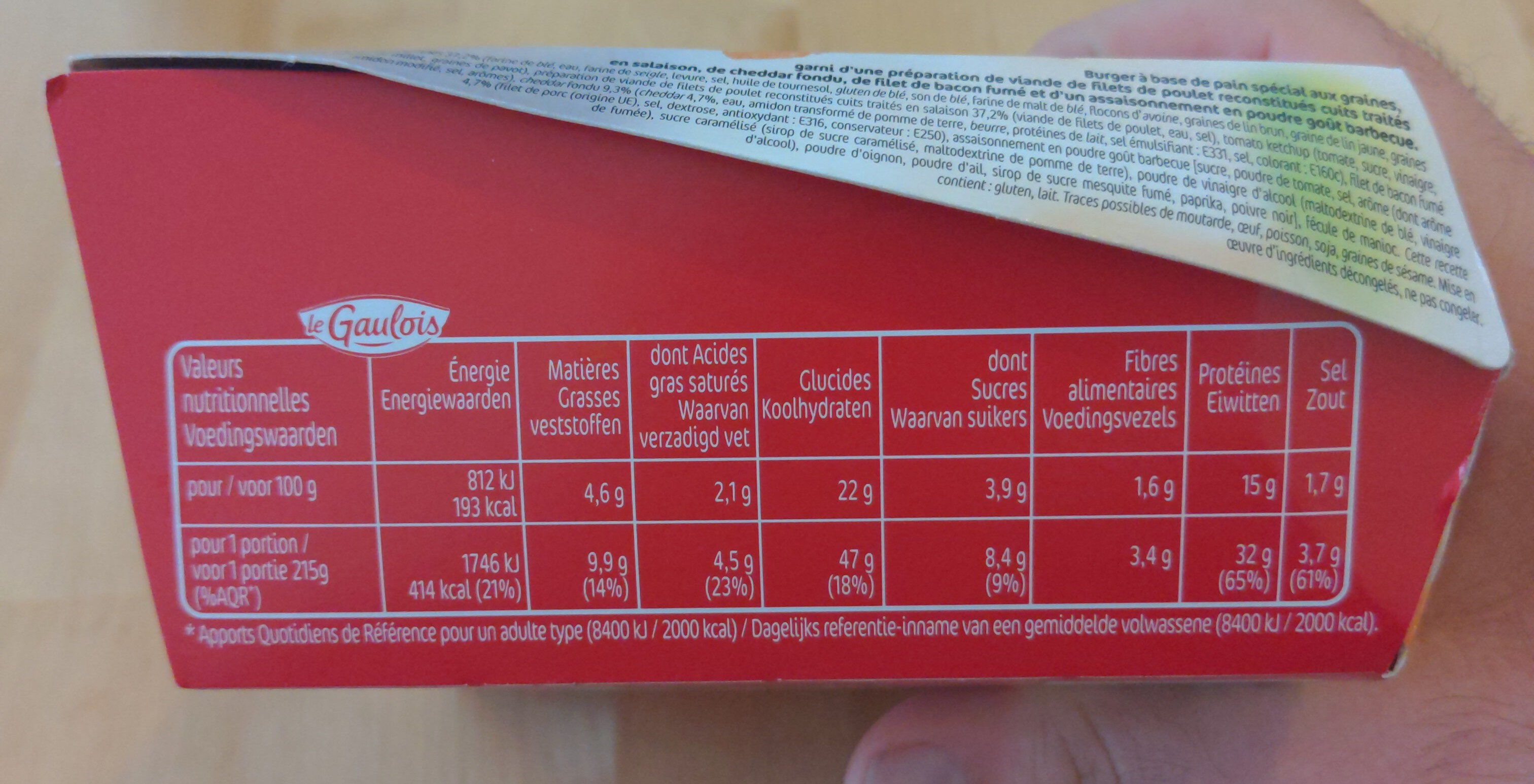 extra chicken burger sauce barbecue x1 - Nutrition facts - fr