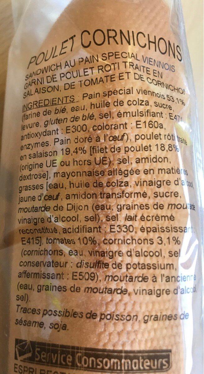 Sandwich Viennois Poulet Cornichons - Ingrédients - fr
