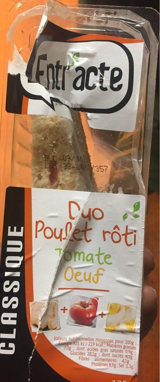 Sandwich Duo Poulet Rôti / Tomates -oeuf Mayonnai - Product - fr