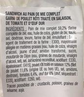 Sandwich Duo Poulet Rôti / Tomates -oeuf Mayonnai - Ingrediënten - fr