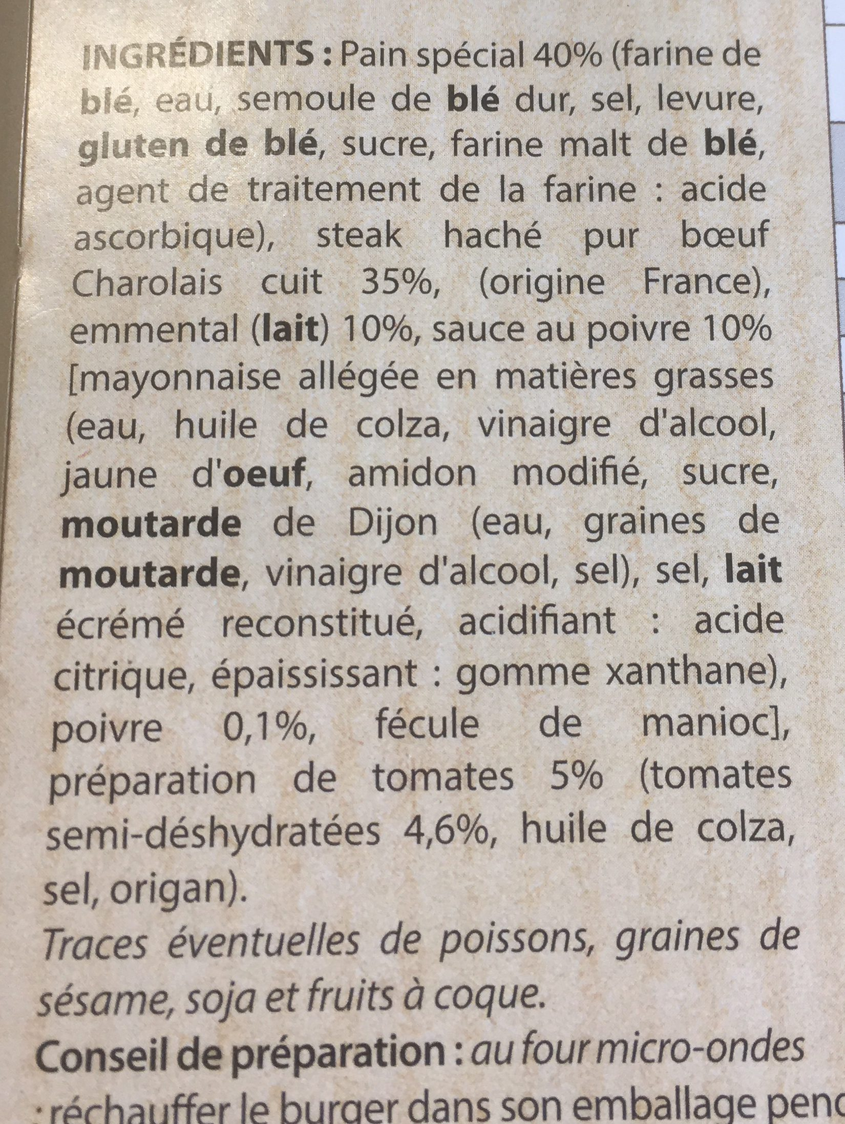 Maxi burger charolais - Ingrediënten