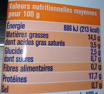 Saumon Ciboulette Extra-Moelleux - Informations nutritionnelles