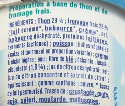 Thon Fromage frais & Ciboulette - Ingredients - fr