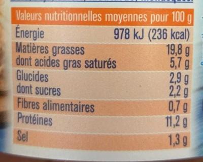Saumon Fromage Frais Ail & Fines Herbes - Nutrition facts - fr