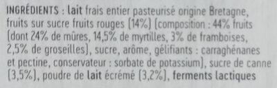 Yaourts sur leur lit de fruits rouges - Ingrédients - fr