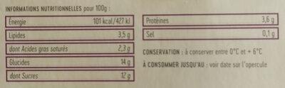 Yaourts sur leur lit de fruits rouges - Informations nutritionnelles - fr