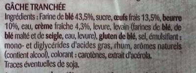 Gache Tranchée - Ingredients