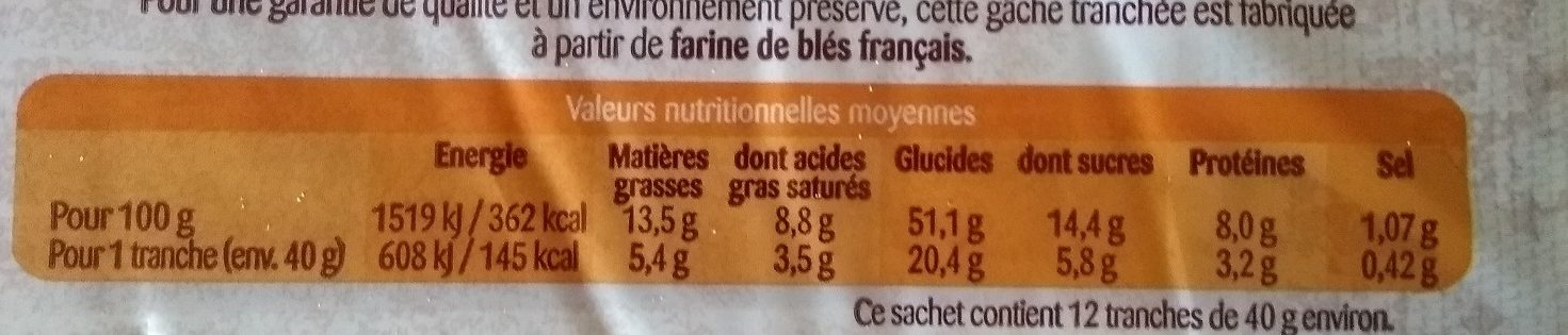 Gache Tranchée - Nutrition facts