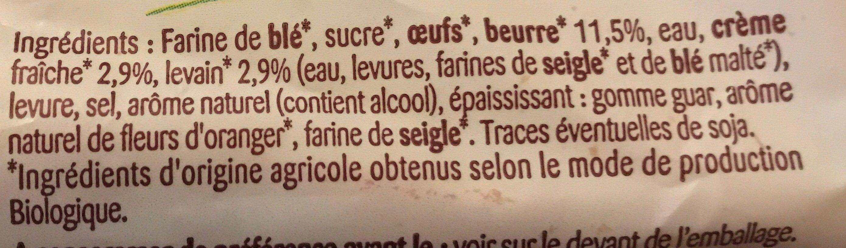 Gache tranchée bio - Ingredientes - fr