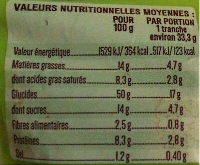 Gache tranchée bio - Información nutricional - fr