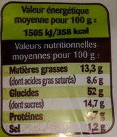 Gache tranchée bio - Información nutricional