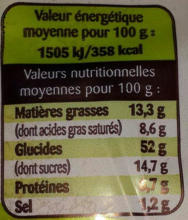 Gache tranchée bio - Nutrition facts