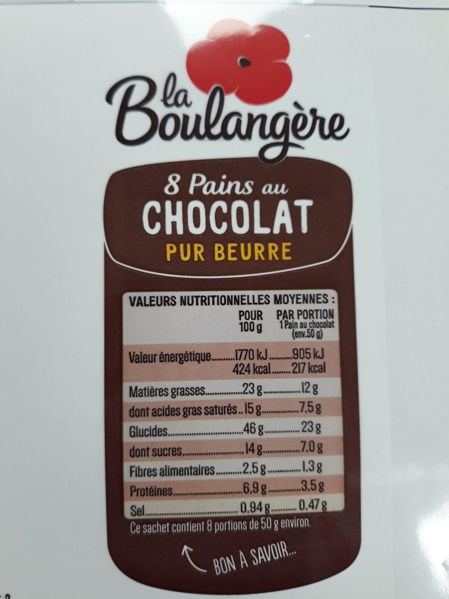 8 Pains au Chocolat pur beurre - Voedigswaarden