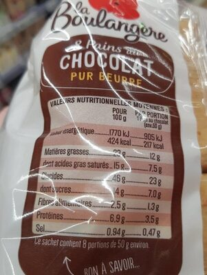 Pain au chocolat - Valori nutrizionali - fr
