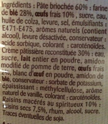 Pain aux Raisin - Ingrédients - fr