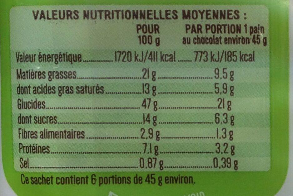 6 Pains au chocolat pur beurre Bio - Voedingswaarden - fr