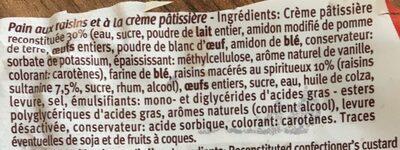 Pain au raisin - Ingrédients
