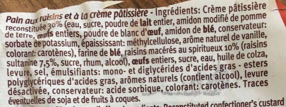 Pain au raisin - Ingrediënten - fr