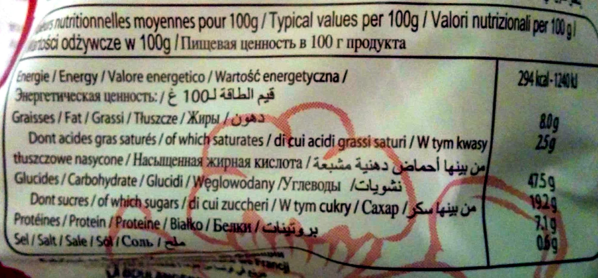 6 spiralo's chocolat - Valori nutrizionali - fr