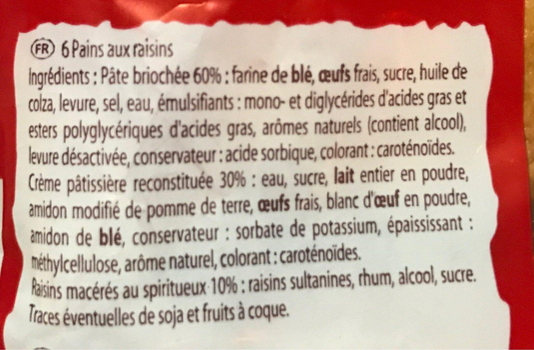 Pain Aux Raisins Boulang.x6 - Ingrediënten - fr