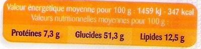 Brioche tranchée pur beurre - Información nutricional