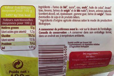 Brioche tranchée Bio - Ingredients