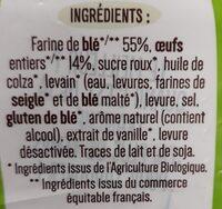 Brioche tranchée Bio - Ingrediënten