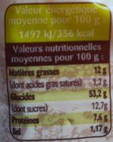 Brioche tranchée Bio - Nutrition facts