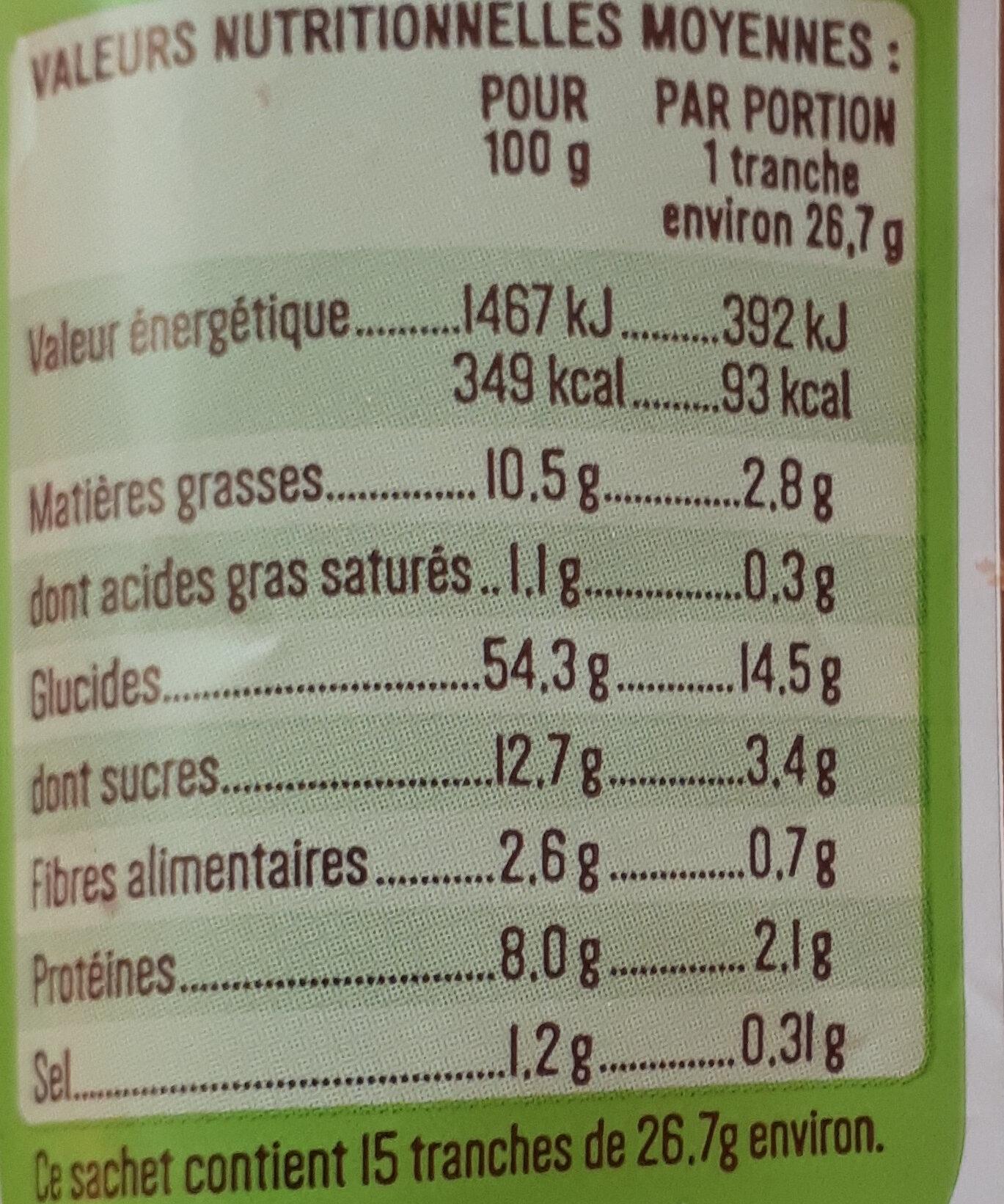 Brioche tranchée Bio - Voedingswaarden - fr
