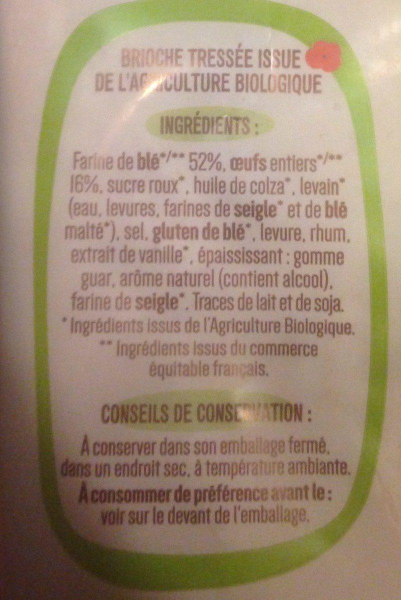 Brioche tressée bio - Ingrédients - fr