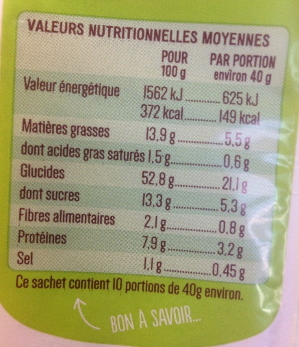 Brioche tressée bio - Informations nutritionnelles - fr