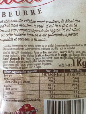 La Boulangère Brioche tressée aux délices des Alouettes - Ingrediënten - fr