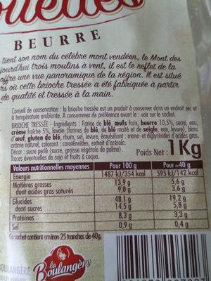 La Boulangère Brioche tressée aux délices des Alouettes - Voedingswaarden - fr