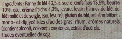 Gâche Tranchée Pur Beurre - Ingredients
