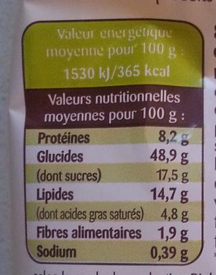 8 Briochettes aux Pépites de Chocolat au Lait Bio - Valori nutrizionali - fr
