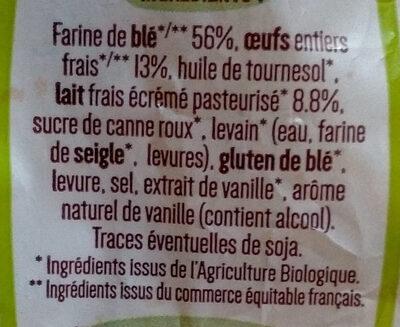 8 Pains au lait Bio déjà fendus - Ingrédients - fr
