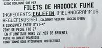 Filets de Haddock fumé - Ingrédients - fr