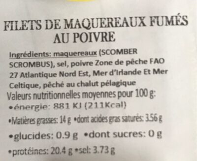 Filets de maquereaux fumés au poivre - Valori nutrizionali - fr