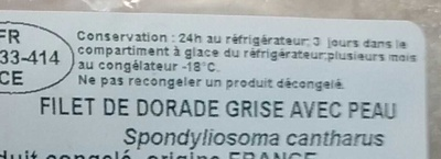 Filet de Dorade grise avec peau - Ingrédients