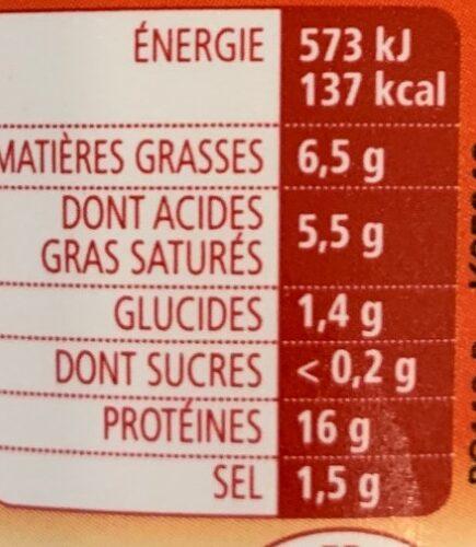 La cancoillotte Ail - Informations nutritionnelles - fr