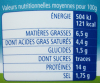 La cancoillotte Nature 6,5% M.G. - Nutrition facts