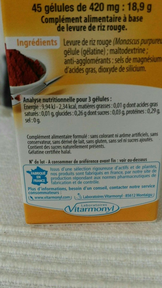 Vitarmonyl Levure De Riz Rouge Gélules - Ingrediënten - fr