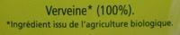 Verveine BiOrigine - Ingredients