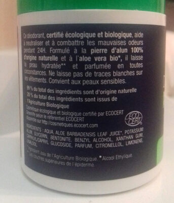 Déo Homme - Ingredients