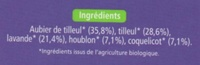 Tisane bio - Ingredients